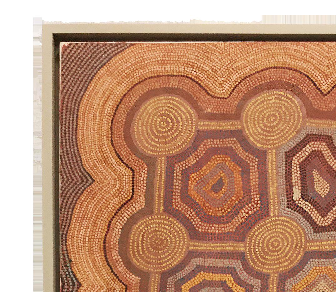 Another Lowy framed piece of Aboriginal art by Uta Uta Tjangala